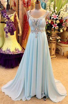 Light Blue Chiffon Long Prom Gowns Sleeveless Open Back Elegant Popular 2015 Long Evening Dresses. 2015 new arrival, latest formal dresses
