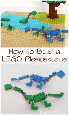 How to Build Plesiosaurs with LEGO Bricks - Frugal Fun For Boys and Girls - How to Build Plesiosaurs with LEGO Bricks – Building instructions. Fun project with the LEGO bric - Lego Design, Dino Lego, Build A Dinosaur, Lego Challenge, Lego Animals, Lego Club, Lego Activities, Lego Craft, Lego For Kids