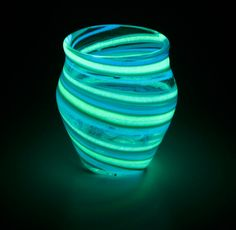 Glow in the Dark Glass Jar Teal/ Turquoise J4. $54.00, via Etsy.