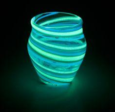 Glow in the Dark Glass Jar Teal/ Turquoise J4. $54.00, via Etsy.