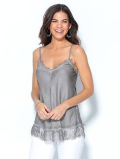 Blusa top lencero de tirantes regulables con encaje