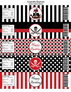 INSTANT DOWNLOAD diy PIRATE Printable Birthday Party Water Bottle Labels wraps red black stripes polka dots -Cupcake Express. $4.00, via Etsy.