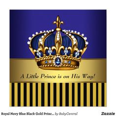 Royal blue gold crown baby shower invitation gold crown shower custom royal navy blue black gold prince baby boy shower invitation created by babycentral this invitation design is available on many paper types and is filmwisefo
