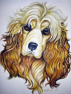 Cocker Spaniel Watercolor by HouseofChabrier Ann Shoemaker-Magdaleno. Art And Illustration, Illustrations, Watercolor Animals, Watercolor Paintings, American Cocker Spaniel, Cockerspaniel, Dog Paintings, Dog Art, Art Drawings