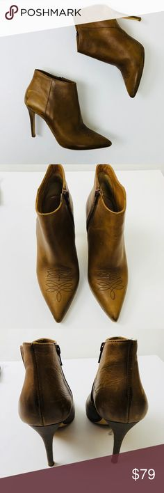 BARNEYS NEWYORK tan heeled  leather ankle boots Absolutely stunning BARNEYS NEWYORK genuine leather tan ankle boots. So comfy. Gently used looks like news inside out so clean. Size 39.5 European good for US 9. Barneys New York Shoes Ankle Boots & Booties