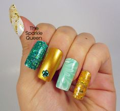 The Sparkle Queen: St. Patty's Day Water Mable Skittle – Get Lucky Nail Art Challenge Day 4