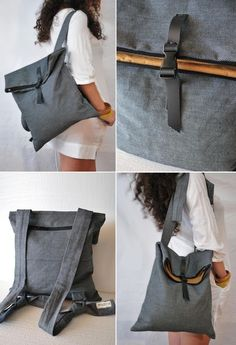 Unique minimal bags & more, handcrafted by Loukia by misirlouHandmade - DIY Tasche Shnittmuster Modern Backpack, Diy Backpack, Leather Backpack, Mochila Tutorial, Mochila Jeans, Minimalist Bag, Denim Bag, Fabric Bags, Handmade Bags