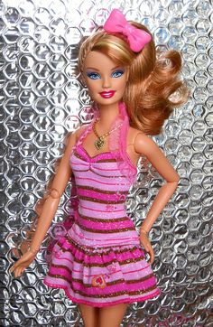 Barbie - pink and brown striped dress