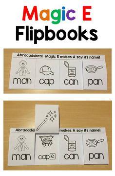 E Love these Magic E flipbooks!Love these Magic E flipbooks! Jolly Phonics, Teaching Phonics, Phonics Activities, Kindergarten Literacy, Teaching Reading, Literacy Centers, Guided Reading, Teaching Ideas, Learning
