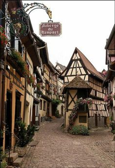 The quaint village of Eguisheim in Alsace, France. The village is known to produce high quality Alsace wine. Places Around The World, Oh The Places You'll Go, Places To Travel, Places To Visit, Around The Worlds, Alsace, Wonderful Places, Beautiful Places, Beautiful Pictures