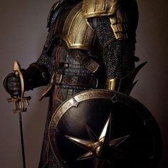 Gold, breastplate, chain mail, shield