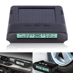 New TPMS Car Tire Pressure Monitoring System Solar Energy LCD Color Display 4 External Sensor Auto Alarm System Car electronics