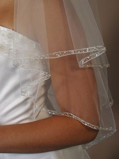 2 layers beaded wedding veil. by CocoBridalBoutique on Etsy, $110.00