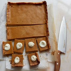 Pumpkin Pie Bars   These bars have all of the spice and warmth of classic pumpkin pie, but they're more easily assembled as bars with a simple press-in crust.