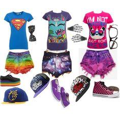 Emo,Scene,Punk,Kawaii,Vans,Rainbow summer outfit!