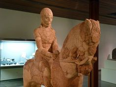 Ancient Iberian warrior with horse, originally from the necropolis of Hoya Gonzalo (Albacete, Spain). Limestone, and dates to 490 BC. These stone figures were used to crown burials of the important figures of Iberian tribes.