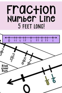 Fraction Number Line with benchmark fractions between 0 and Print on any color paper, connect, and laminate to make a 5 foot long number line that can be used for interactive activities. Fraction Games, Fraction Activities, Class Activities, Interactive Activities, Teaching Tips, Teaching Math, Maths, Math Teacher, Teacher Resources