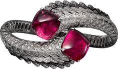 High Jewelry bracelet White gold, rubellites, black lacquer, diamonds