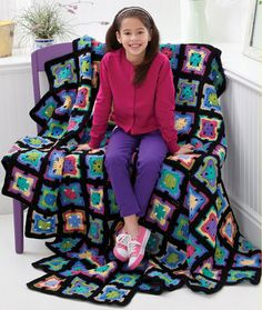 Awesome crochet blanket granny square updated colors by Bob Wilson. She is a terrific crochet designer from Australia with lots of fun designs on YouTube!
