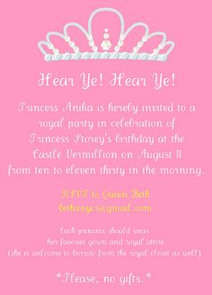 Princess Party Invitation Wording 4 Years Old