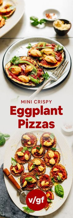 Crispy eggplant pizzas that are gluten-free and vegan! Cornmeal and vegan parmesan crusted, baked till crispy, a delicious side or main! Crispy Eggplant, Eggplant Pizzas, Grilled Eggplant, Healthy Eggplant, Vegan Parmesan, Parmesan Crusted, Vegan Ricotta, Vegan Pesto, Vegetarian Recipes