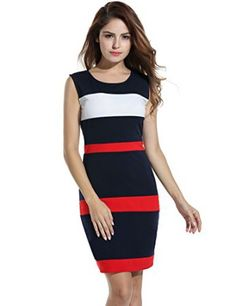 ANGVNS Women's Fashion Slim O Neck Colorblock Stripe Pencil Dress    I love the look of color block dresses as they are slimming and look adorable.  I love the wide selection of patterns and colorblocking styles. My favorite color block dresses hug the bodys curves.  You will apprecaite there are all kinds of sizes and materials to pick from.  Pair this color block dress with the right shoes to elevate your fashion game to the next level.