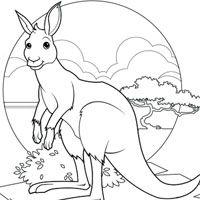 Coloring Page Kangaroo