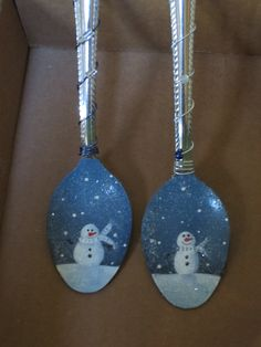 Painted spoons covered in German glass glitter - super sparkley