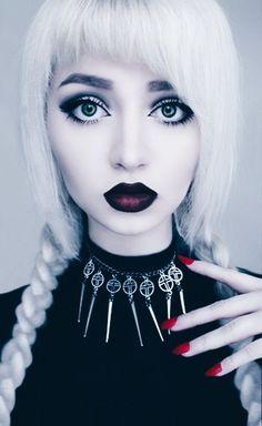 White hair, pig tails, goth doll make up, dark lipstick Gothic Makeup, Dark Makeup, Eye Makeup, Fantasy Makeup, Makeup Geek, Nu Goth Makeup, Makeup Art, Natural Makeup, Gothic Hair