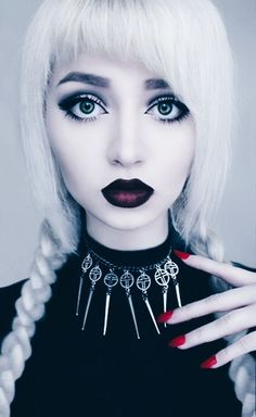 Dark Grunge girl with White Hair and Dark red lips - http://ninjacosmico.com/35-grunge-make-up-ideas/