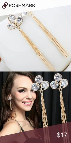 Shamrock Crystal Clover Dangling Earrings Shamrock Crystal Clover Dangling Earrings Jewelry Earrings