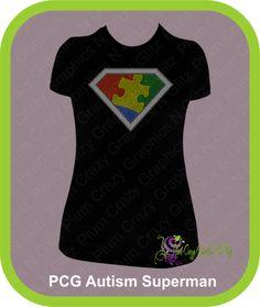 Rhinestone Autism Superman Shirt, $26.99