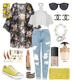 """""""Untitled #347"""" by angelicaaans ❤ liked on Polyvore featuring Topshop, Converse, Melie Bianco, Yves Saint Laurent, Chanel, Prada, NARS Cosmetics and River Island"""