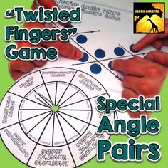 This game (played like tabletop version of Twister) helps students practice identifying special angle pairs along a transversal with parallel lines.  The following angle pairs are included:- Alternate Interior Angles- Alternate Exterior Angles- Corresponding Angles- Supplementary Angles- Vertical Angles- Linear Pairs- Congruent AnglesThere are two game boards plus a spinner included.