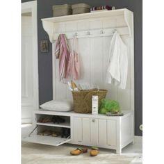 Mueble recibidor con perchero de pared y zapatero de gran robustez para la entrada, hall o recibidor de su hogar.