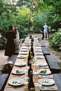 Interior Decoration:Dazzling Outdoor Tablescapes Party Ideas With Long Wooden Outdoor Dining Table Feat Black Wooden Dining Bench Amazing Outdoor Tablescapes Idea, Nice Table Centerpieces