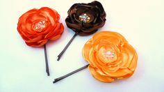 Frilly Little Flower Bobby Pins set of 3 by BananaSueBoutique, $21.00 Two bridesmaids per color
