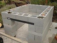 Decorative concrete panels, stucco, tile, and stone are all suitable facing materials for an outdoor kitchen constructed with concrete block...