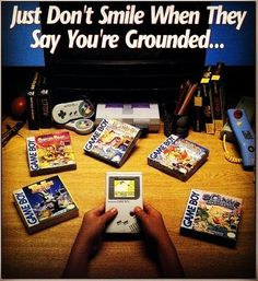 """""""Just Don't Smile When They Say You're Grounded""""  #lovegaming #retrogames #retrogame #retrogame #retrogamer #retrogaming #retroconsoles #retrocollector #retrocollective #retrocollectiveus #retrocollectivecanada #nintendo #gameboy #snes #supernintendo #nintendogameboy #gamer #gaming #gamers #gamerguy #gamergirl"""