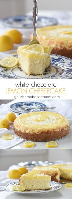 White Chocolate Lemon Cheesecake Dessert Recipe - perfect for Easter Brunch or dinner. White Chocolate Lemon Cheesecake is creamy and rich with a graham cracker crust and a lemon curd top!