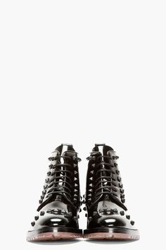 VALENTINO Black Leather RUBBER STUD BOOTs