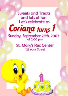 Tweety 12 Pack 3D Birthday Invitations