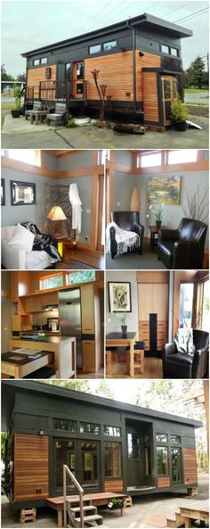 Loving this!! Modern 450 Sq. Ft. Prefab Tiny Home by GreenPod Development in Washington - GreenPod Development and Sprout Tiny Homes teamed up to build a beautiful and modern home that has everything you could want or need. This 450-square foot house was built in Port Townsend, Washington as a model but you can have the talented design team build your own home right on your land in six weeks! The exterior of the house is impressive with Hardie panel and cedar siding and a metal roof.