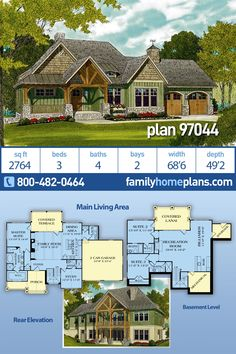 Popular craftsman style house plan on a walkout basement is a great choice for hillside or sloping lots. This plan has 3 bedrooms but the study can easily be a 4th bedroom by adding a wardrobe to the space.  Lots of outdoor entertaining space with the front porch, covered terrace and covered lanai at lower level. #houseplan #floorplans #architectural #newhome #newconstruction #newhouse #homeplan #home #house #newhouseplan #blueprints #futurehome #newhomeplan #homedesign #buildhome #wetbar