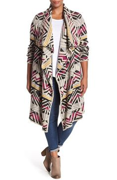 Lucky Brand Geometric Long Cardigan (Plus Size) available at #Nordstrom
