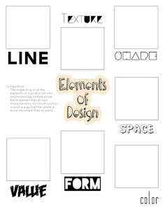 Elements of Design--students find examples in magazines or on internet and glue in boxes (also a sheet for Principles of Design)
