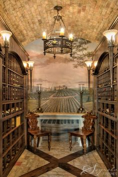 Beautiful Wine Cellar Room, Love the wine orchard mural and ceiling!  (Ideas for root cellar)