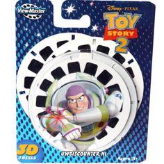 View master schijfjes met weer een hit van Disney Pixar de film Toy story , 3 schijfjes met de mooiste en leukste momenten uit de film met jou helden.  http://www.worldoftoys.nl/speelgoed/peuters/view-master-3d-kaarten-toy-story-peuter-speelgoed