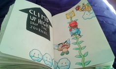 Wreck this journal - Mario climbing up a vine surrounded by flying enemies and platforms on a page labeled climb up high, drop the journal.