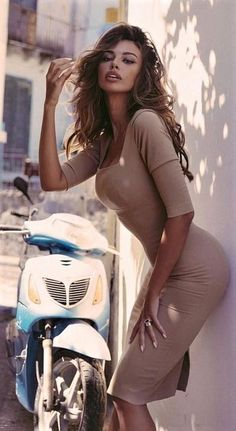 She Is Gorgeous, Beautiful Women, Brown Outfit, Scooter Girl, Bikini, Cosplay, Glamour, Brunette Beauty, India